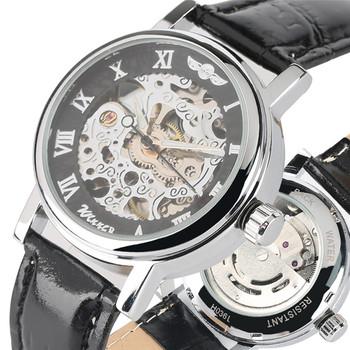 Klasyczna wodoodporna stal nierdzewna szkielet mechaniczne zegarki na rękę dla kobiet przezroczyste mechaniczne zegarki własny wiatr dla dziewczynek tanie i dobre opinie YISUYA Automatyczne self-wiatr STAINLESS STEEL Klamra 5Bar Moda casual Odporne na wodę W158201 Skórzane 16mm 22 5inch