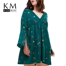 Kissmilk Plus Size Women Floral A-Line Dress Large Knee-Length Ruffles Over Flare Sleeve Empire V-Neck