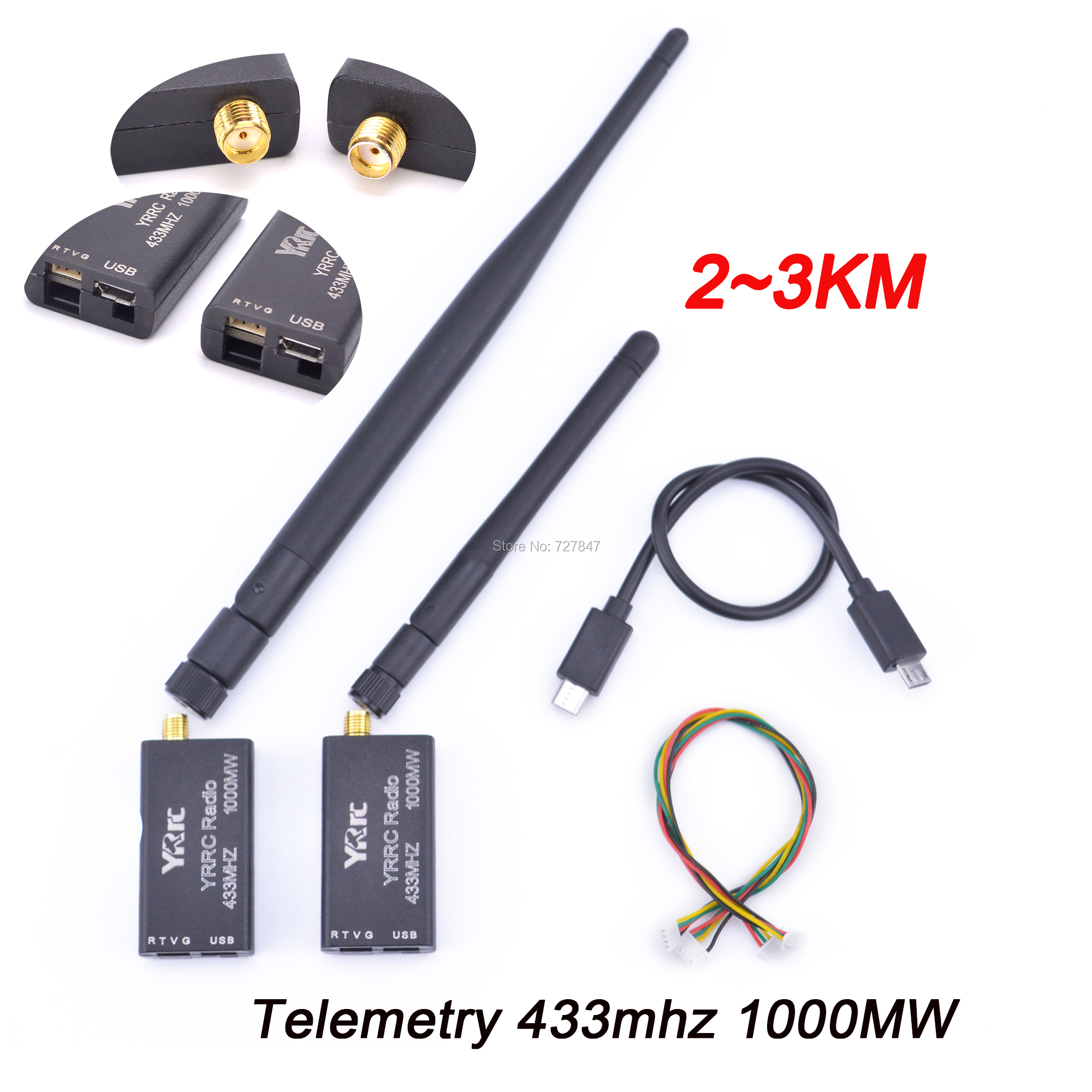 3DR Radio Telemetry 433mhz 433 1000MW 2 3KM Data Telemetry TTL USB Port distance for APM