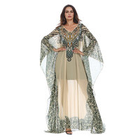 Vintage Muslim Printed Chiffon Abaya Batwing Sleeve Women Loose Islamic Dubai Femme Sexy Long Party Maxi Robe Gown VKDR1256