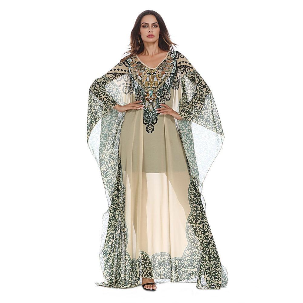 Vintage Printed Chiffon Abaya Batwing Sleeve Women Loose Sexy Long Maxi Robe Transparent Ramadan Gown VKDR1256