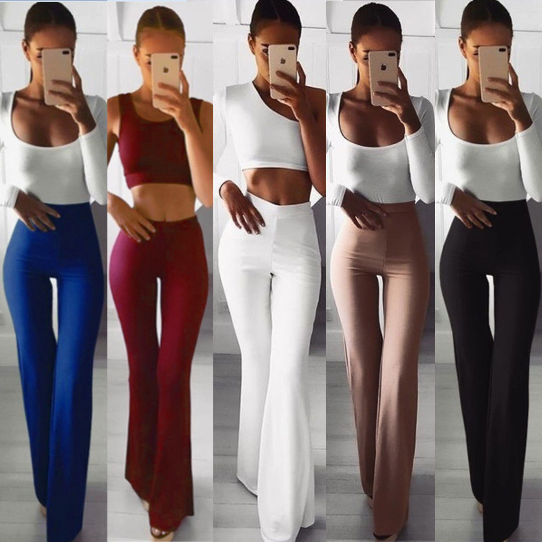 Hirigin New Women Slim High Waist Wide Leg Flared Ladies Palazzo Stretch Trousers Pants