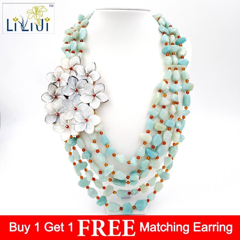 LiiJi Unique Amazonite naturelle et fleurs de coquille avec fermoir à bascule Jades fait à la main tricot grand collier