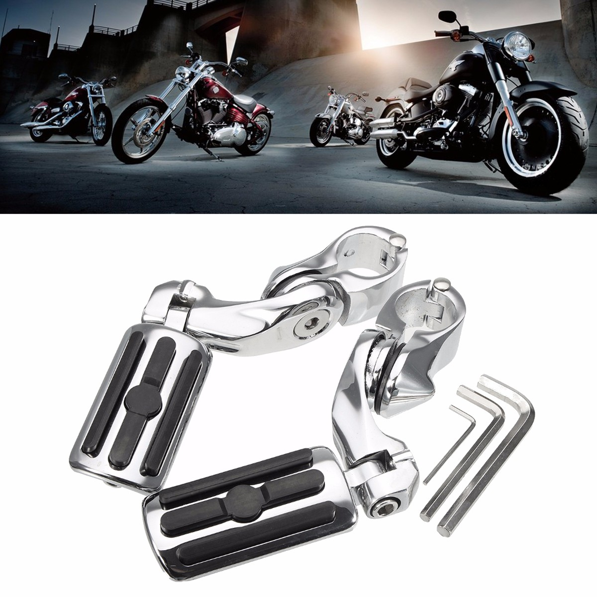 New Pair 1.25 inch 3.2cm Chrome Adjustable Foot Pegs Pedals Foot Rests Footrest For Harley Davidson chrome lion paw foot pegs