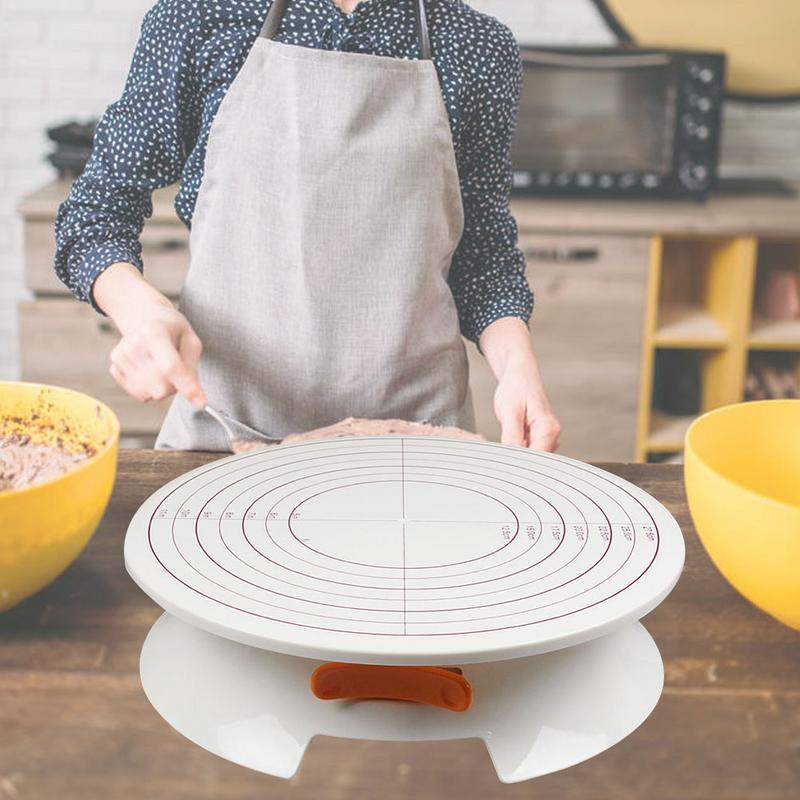 Cake Swivel Plate Plastic Turntable Decoration 360 Degree Manual Revolving Round Cake Stand Platform Kitchen Baking Tool Ct1031 Turntables