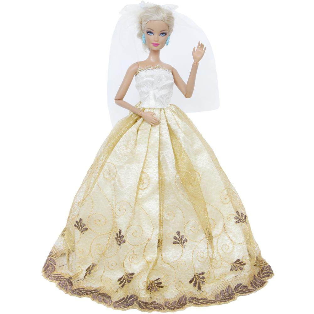Handmade Wedding Dress Princess Evening Party Long Gown Skirt With White  Veil Clothes For Barbie Doll 544b862a50ef