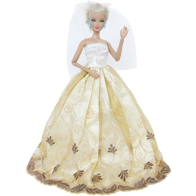 Handmade Wedding Dress Princess Evening Party Long Gown Skirt With White Veil  Clothes For Barbie Doll Accessories DIY Gift Toy cb92463bf0d1