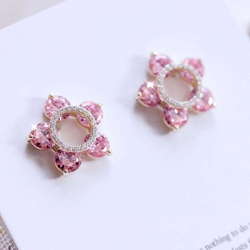 Fashion Hollow out Five Pink Stones Small Flower Stud Earrings Yellow Star Cubic zirconia Earrings Women Jewelry Sweet Cute