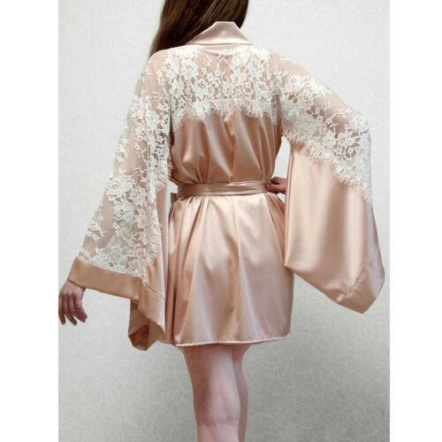 Women Long Sleeve Plain Kimono Robe Silk Satin Dressing Gown Bridesmaid Wedding Robe