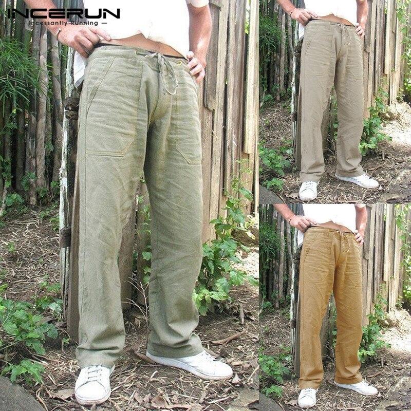 INCERUN Vintage Pants Men Cotton Linen Casual Loose Solid Trousers 2019 Drawstring Pockets Baggy Pantalon Straight