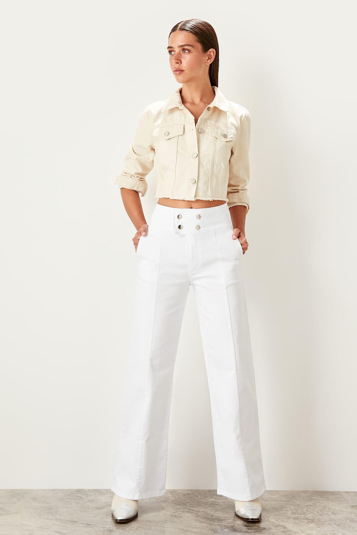 Trendyol White Button Detail Super High Waist Wide Leg Jeans Woman TWOSS19LR0249