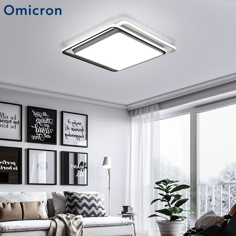 Led Eenvoudige Stijl Plafond Verlichting Wit Zwart Acryl Metalen Body Vierkante Lamp For a Woonkamer Slaapkamer Home Decor