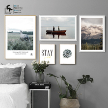 CREATE&RECREATE Nordic Poster Landscape Flower Prints Wall Art Animal Canvas Painting Letters Decorative Pictures CR1810115047