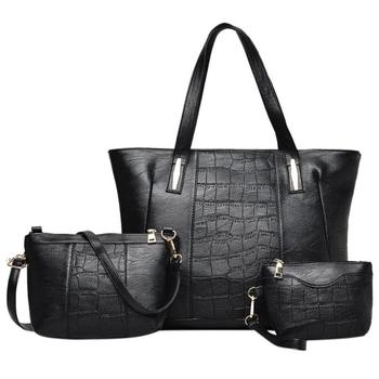 fff98e2da3a2 3pcs Set Women Handbag Stone Pattern PU Leather Shoulder Bag Large ...