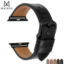 MAIKES For Apple Watch 4 Accessories Genuine Leather Bands 42mm 44mm 38mm 40mm iwatch Series 3 2 1