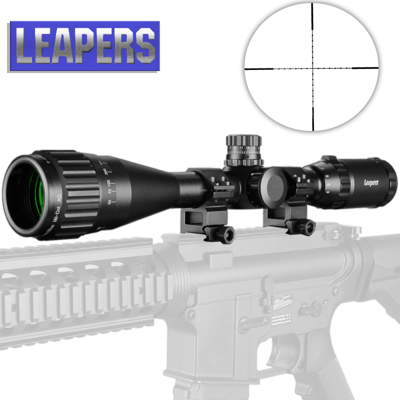 LEAPERS 6-24X50 Riflescope Tactical Optical Rifle Scope Red Green And Blue Dot Sight Illuminated Retical Sight For Hunting Scope
