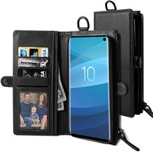 For Samsung Galaxy S10 S10E Plus Case Leather Magnetic Zipper Wallet Bag Card Slot Flip Stand for