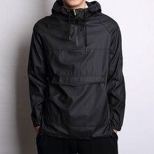 ПУ толстовка хип Мужская водонепроницаемая куртка с капюшоном кенгуру карман мужской пуловер верхняя одежда Скейтбординг спортивные толстовки