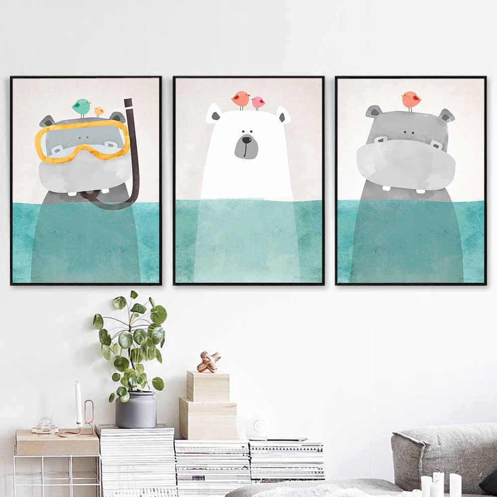 Baby Nursery Wall Art Canvas Poster Print Cartoon Bear Painting Nordic Kids Decoration Picture Children Bedroom Decor No Frame