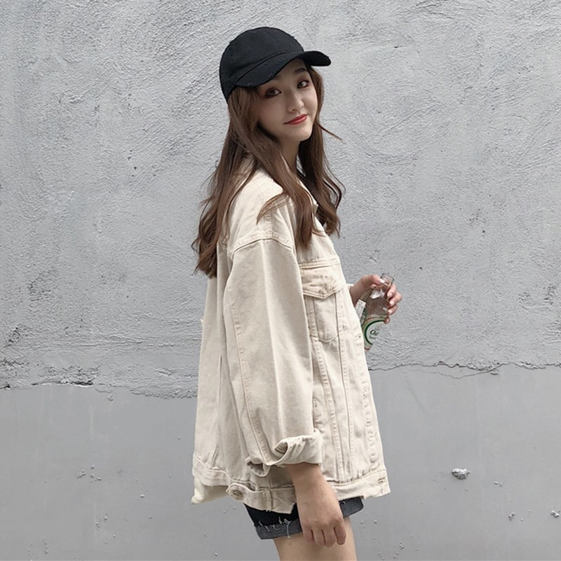 Fashion beige female denim jacket casual wild loose thin long sleeve Single breasted lapel tooling Short paragraph denim coat