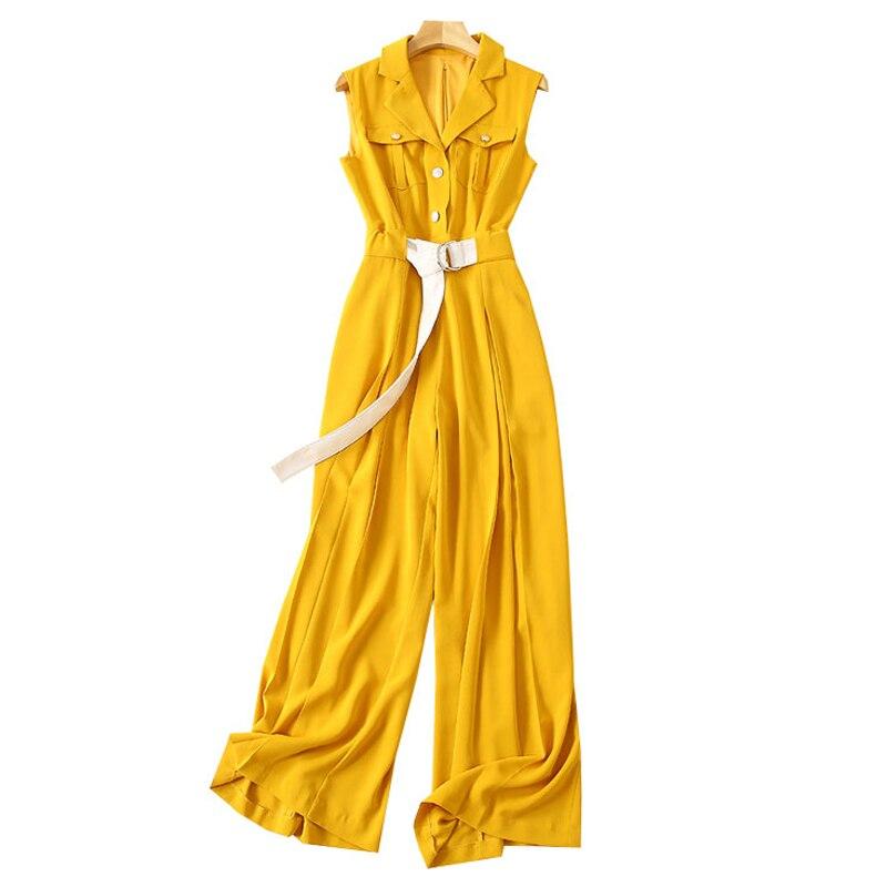 Jeden kawałek strój kobiety urząd lady odzież robocza żółty kombinezon ścięty kołnierz bez rękawów klapa kieszenie z paskiem spodnie plisowane spodnie romper w Kombinezony od Odzież damska na  Grupa 2