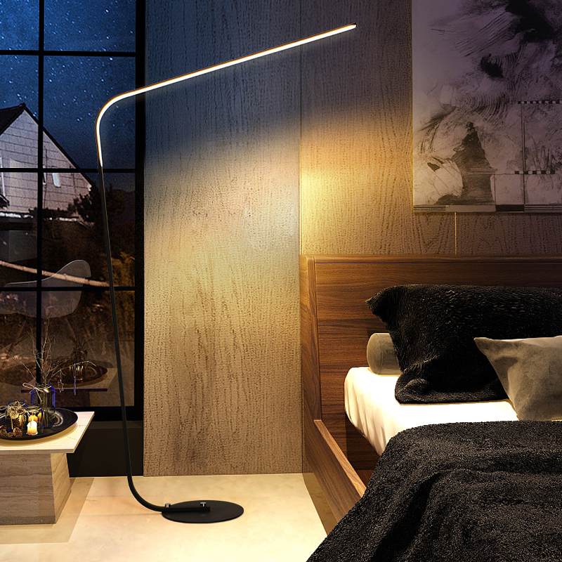 Postmodern minimalism LED floor lamp for bedroom Black/White Iron standing lamp 24W study Rooms Offices Lighting AC110-220v