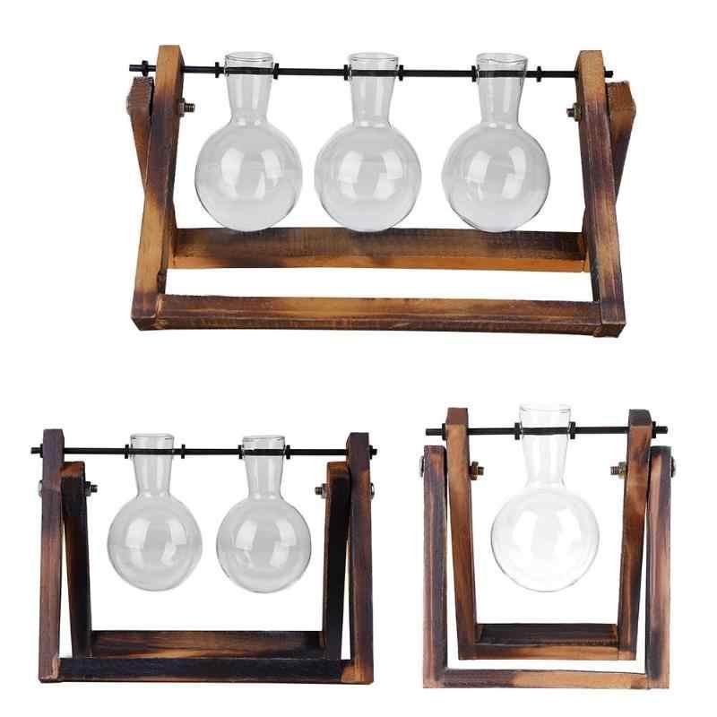 Glass Wood Vase Planter Terrarium Table Desktop Hydroponics Plant Bonsai Flower Pot Hanging Pots with Wooden Tray Home Decor