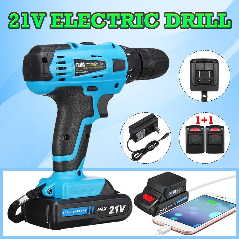 Здесь можно купить  21V Cordless Electric Drill Screwdriver Max 2 Speed Keyless Chuck 18+1 Clutch Positions with Rechargeable Lithium Lon Batteries   Инструменты