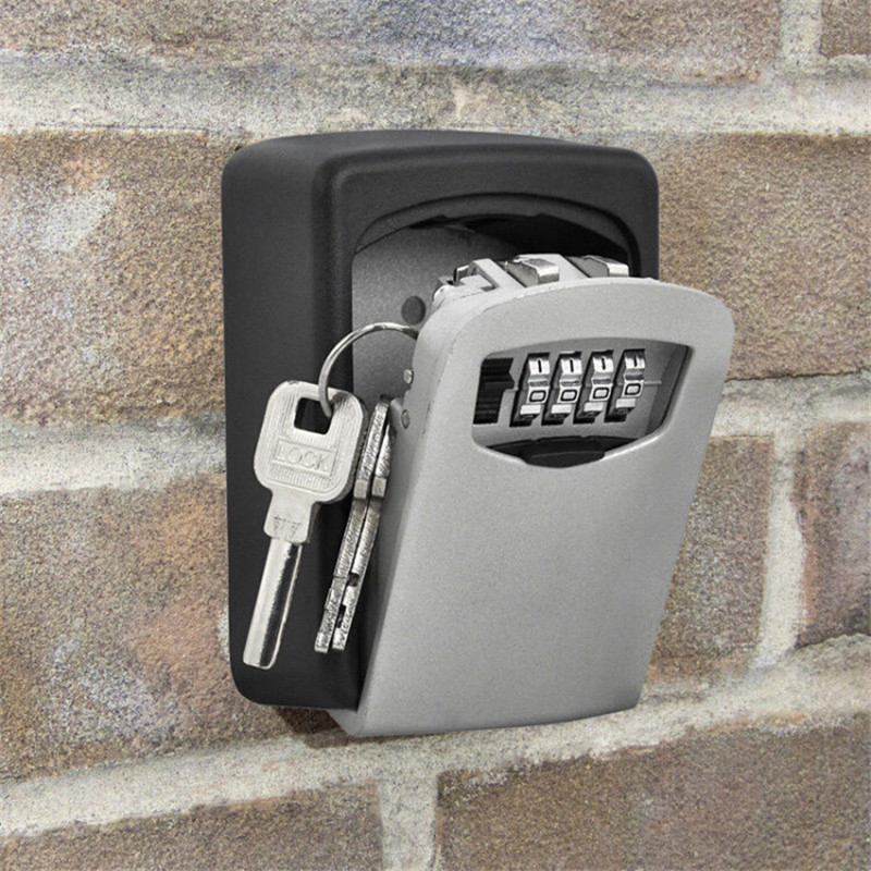 Key Storage Box Digit Wall Mount Combination Lock Four Password Keys Safe Box Aluminum Alloy Material Security Organizer Boxes
