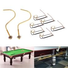 6Pcs Iron Billiard Pool Table Pocket Rail Replacement Snooker Accessories with Brass Billard Hook Cue Rack