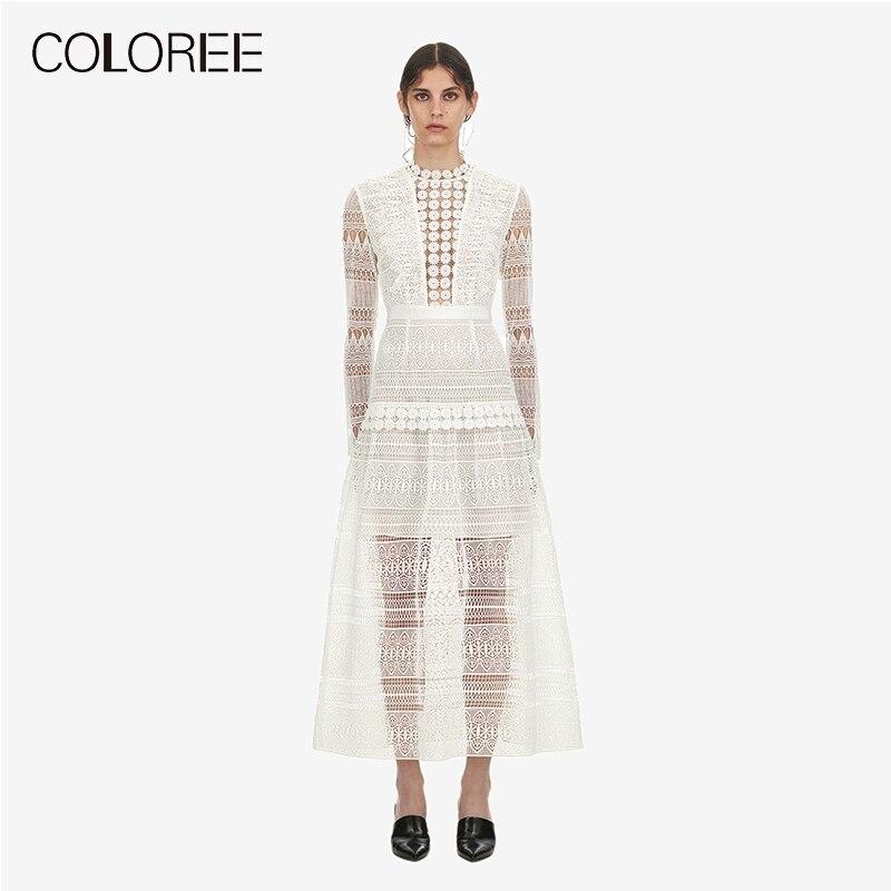 2018 Осень Зима Новое поступление белые кружевные платья женские элегантные открытые макси длинные платья Автопортрет