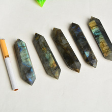 Natural blue moonlight labradorite double-pointed crystal column ornaments Moonstone pillars six prismatic ornaments wholesale цена