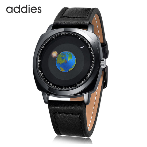 Estrelado à Prova Relógios de Pulso Addies Design Criativo Rotação Terra Relógio Céu D3água 3atm Couro Quartzo Moda Casal