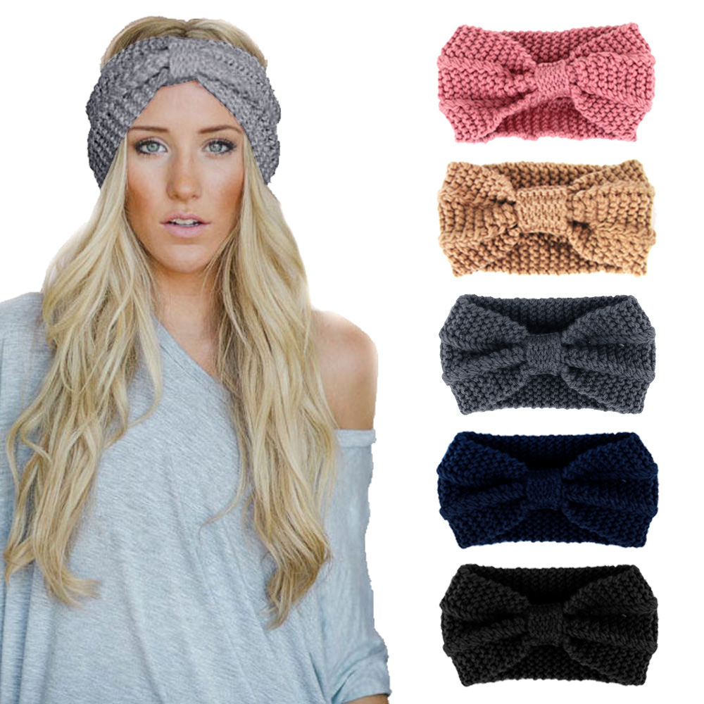 2018 New Autumn Winter Bow-knot Knitted Headband High Quality Fashion Women Solid Knitted Hats