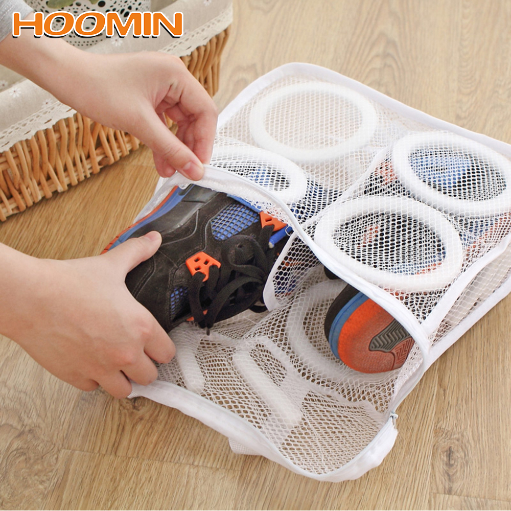 HOOMIN Lazy Shoes Washing Bags Mesh Laundry Bag For Shoes Underwear Bra Washing Bags Protective Organizer Shoes Airing Dry Tool