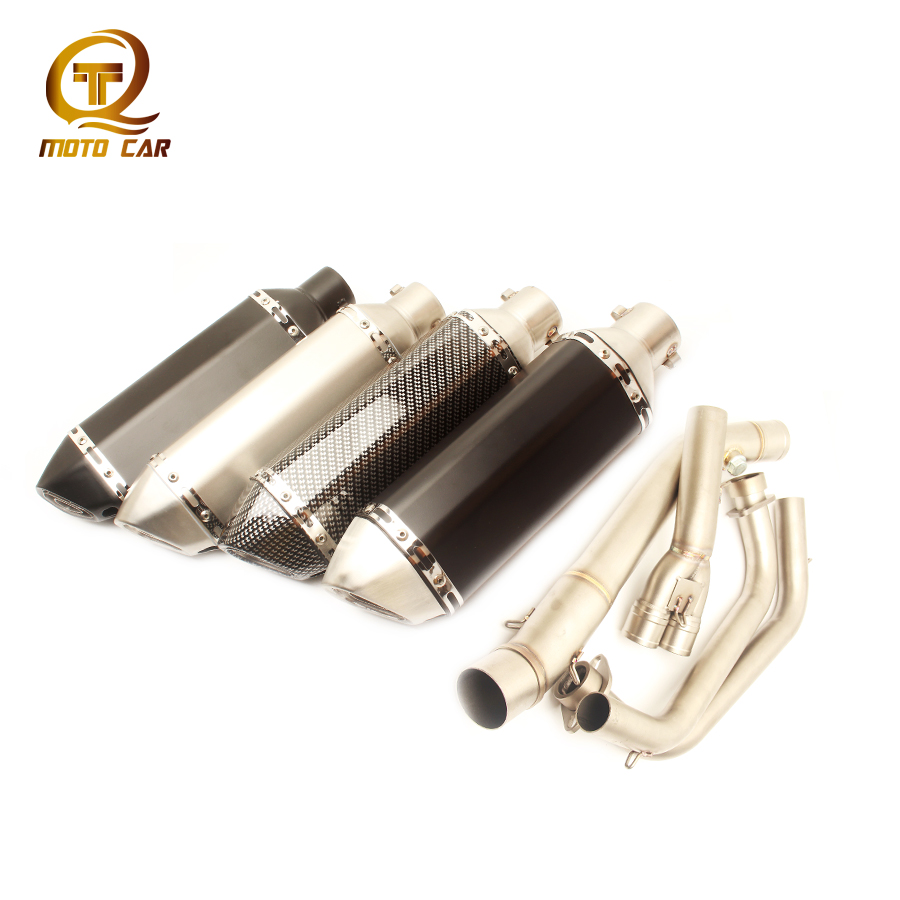 Motorcycle Exhaust System Mid Tube Link Pipe 51MM Muffler 370MM DB Killer for Escape Completo MT03 R3 Yamaha R25 2014 2015 2016Motorcycle Exhaust System Mid Tube Link Pipe 51MM Muffler 370MM DB Killer for Escape Completo MT03 R3 Yamaha R25 2014 2015 2016