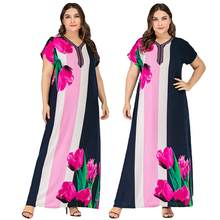Women Printed Short Sleeve Long Dress Kaftan Abaya Caftan Tunic Plus Size Summer Dress V-neck Ankle-Length Ethnic Style Loose(China)