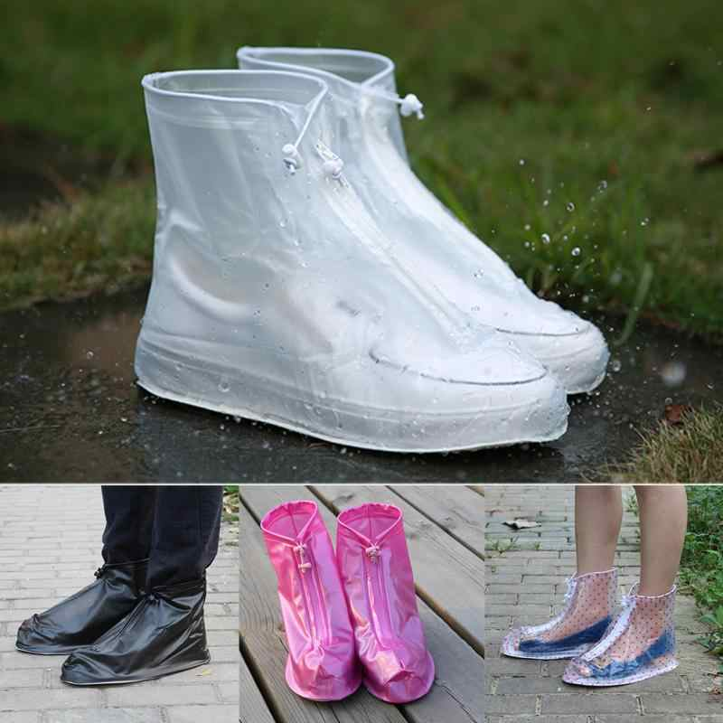 1 Pair Waterproof Protector Shoes Boot Cover Unisex Women Man Zipper Rain Shoe Covers High-Top Anti-Slip Rain Shoes Cases