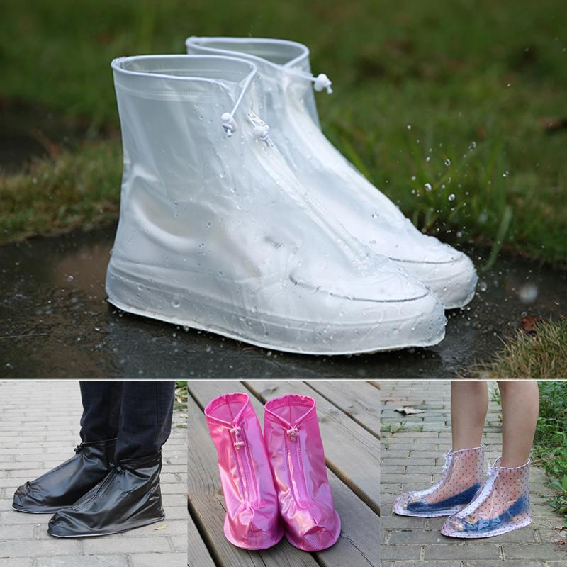 1 Pair Waterproof Protector Shoes Boot Cover Unisex Women Man Zipper Rain Shoe Covers High-Top Anti-Slip Rain Shoes Cases