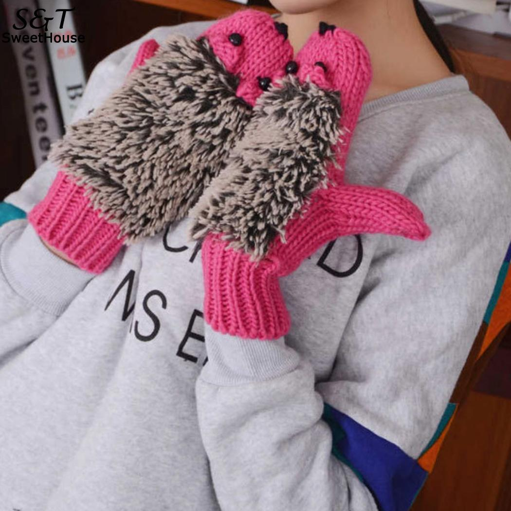 Responsible Fanala Gloves Hedgehog All-finger Gloves Plush Glove Costume Cute Winter Warm Knit Mittens Winter Warm Wool Gloves 2018 Girl's Gloves Girl's Accessories
