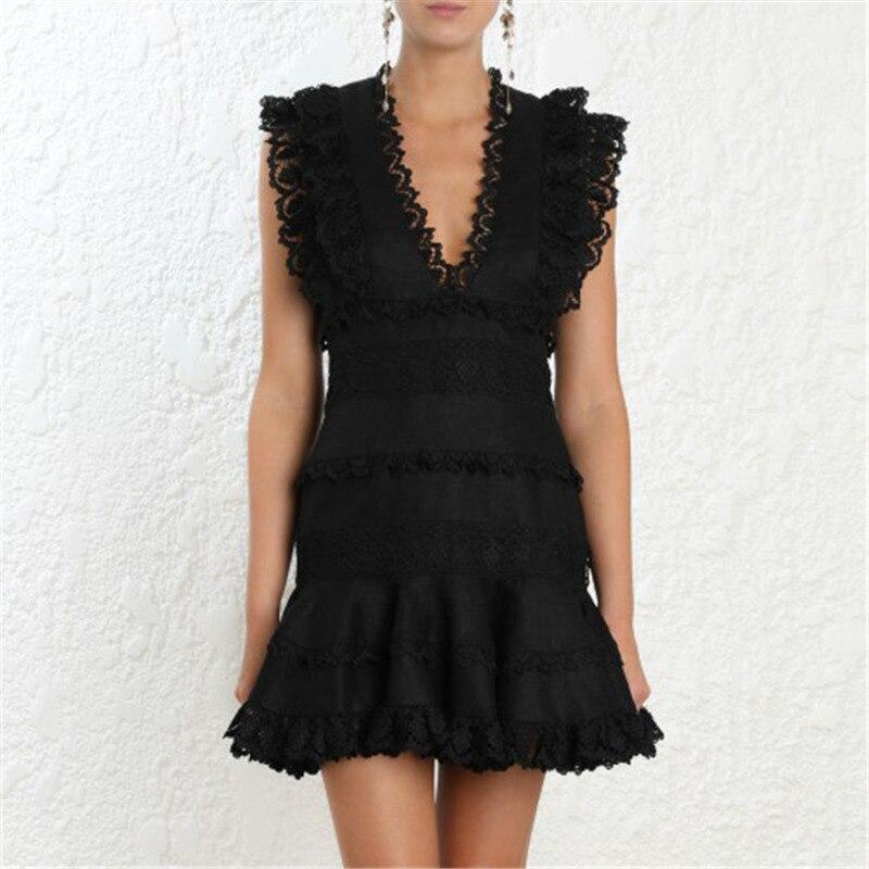 Longueur cou black White Sexy L'épaule Haute Hors V Vêtement Taille Tenue Mode Évider Ruches De Nouvelle Wd28600l Femme Deat Pour Fête 2019 1q710