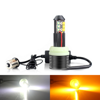 2X Car 1156 BA15S P21W DRL/Turn Signal Light BAU15S PY21W T20 7440 W21W White Yellow Dual Color Front LED Canbus No Error Bulb