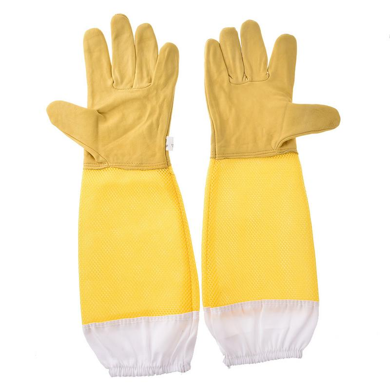Newest Beekeeping Gloves Yellow Netted Goatskin Gloves Bee Protective Gloves Tools #YONewest Beekeeping Gloves Yellow Netted Goatskin Gloves Bee Protective Gloves Tools #YO