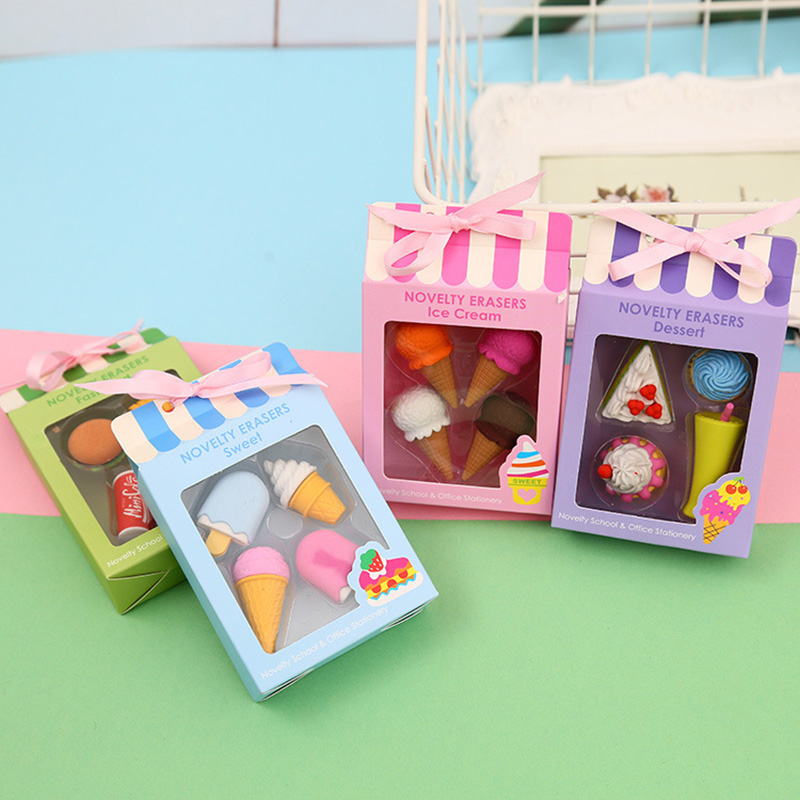 4Pcs/set Kawaii Hamburger Cola Rubber Erasers Cute Ice Cream Pencil Erasers For Kids Gifts School Stationery Correction Supplies