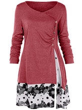 Plus Size 5XL Draped Floral Long Tunic Shirts Long Sleeve O-Neck Buttons Embellished Women Blouse Spring Casual Tops Tee