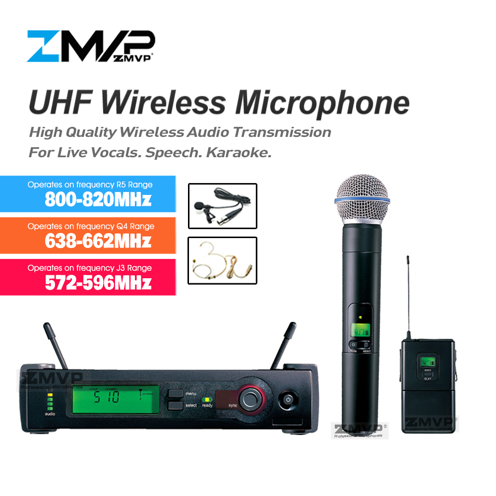 ZMVP SLX24 UHF Wireless Microphone SLX Karaoke System With SLX14 BodyPack Handheld Transmitter Headset Lavalier Tie Clip Mic zmvp p24 m58 uhf professional wireless microphone system with m58 handheld transmitter mic for stage live vocals karaoke speech