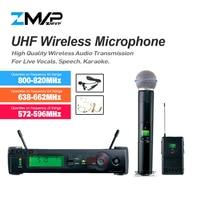 ZMVP SLX24 UHF Wireless Microphone Karaoke System With SLX14 BodyPack BETA58 Handheld Transmitter Headset Lavalier Tie Clip Mic
