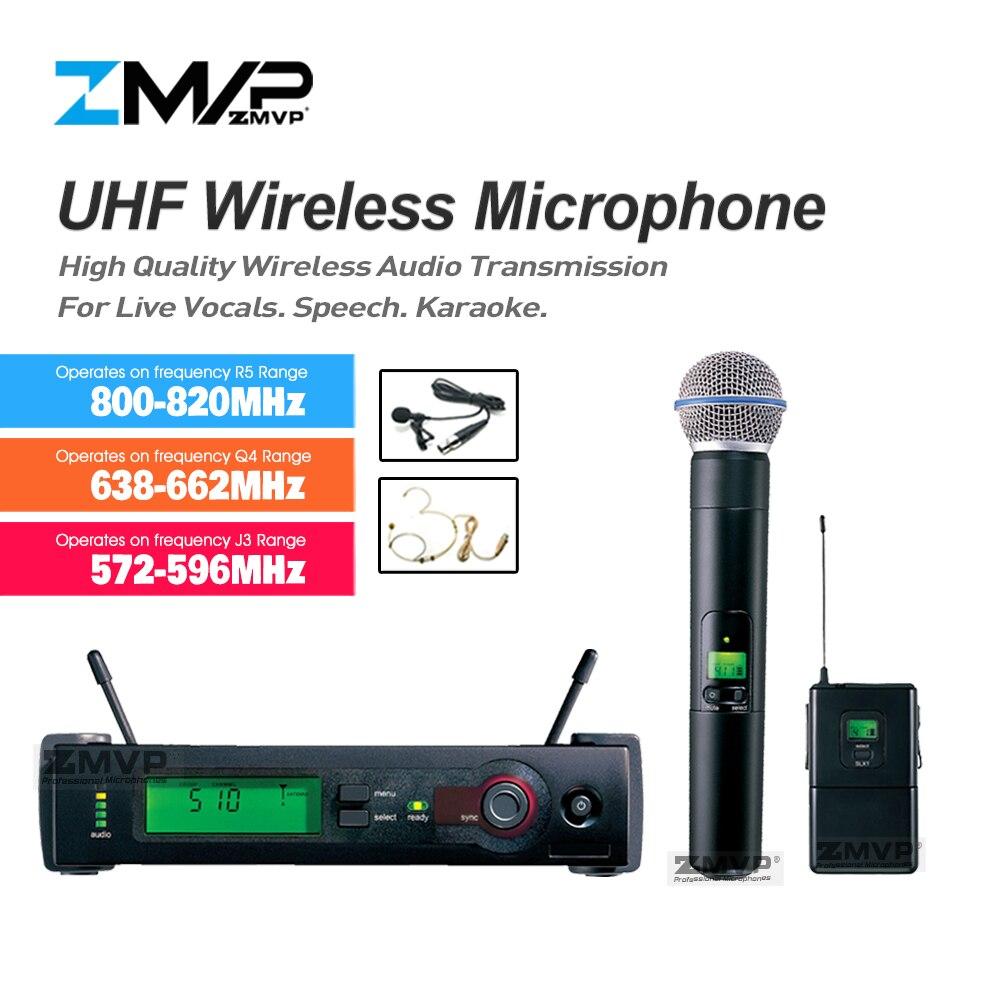 ZMVP SLX24 UHF Sans Fil Microphone SLX Système Karaoké Avec SLX14 de Poche Émetteur De Poche Casque Cravate Cravate Clip Mic