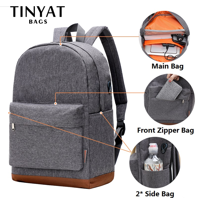 TINYAT Large School Bag Backpack for Teenages mochila 15 inch Laptop Backpack USB Charge Leisure Rucksacks Travel daypack Grey