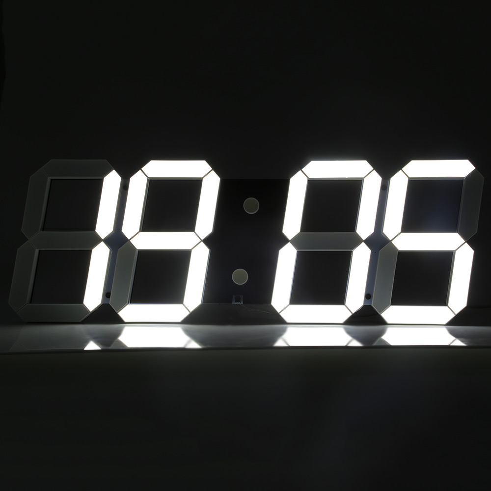 Large LED Digital Wall Alarm Clock Modern Design Home Decor 3D LED Clock Big Decorative Watch White Black Living Room Bedroom-in Wall Clocks from Home & Garden    1